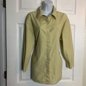 DKNY Jeans Button Up 3/4 Sleeve Light Green Top 16W